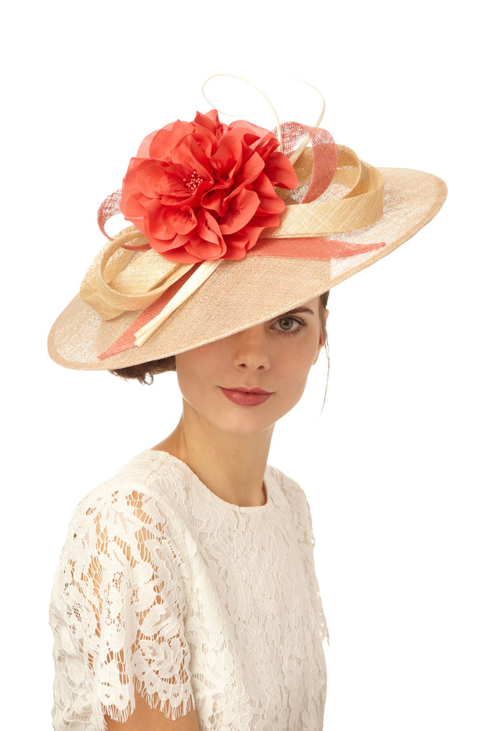 Large Derby Saucer Hat with Silk Flower by Genevieve Rose Atelier