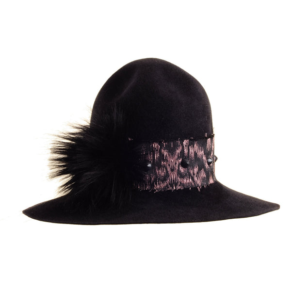 Large Felt Custom Pharrell Hat with Brocade Ribbon and Faux Fur Pom Pom by Genevieve Rose Atelier