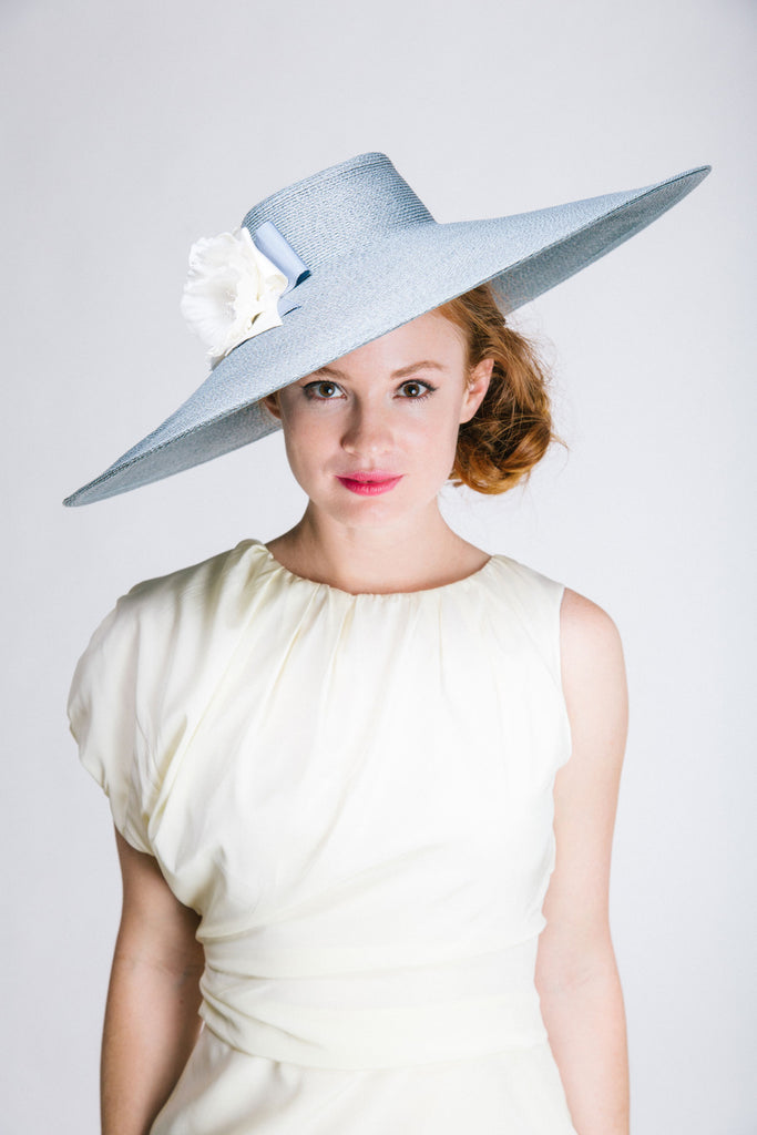Large Grey Straw Picture Hat with Silk Flowers and Bows by Genevieve Rose Atelier