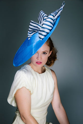 Large Blue Disc Derby Hat with Stipe Bows by Genevieve Rose Atelier