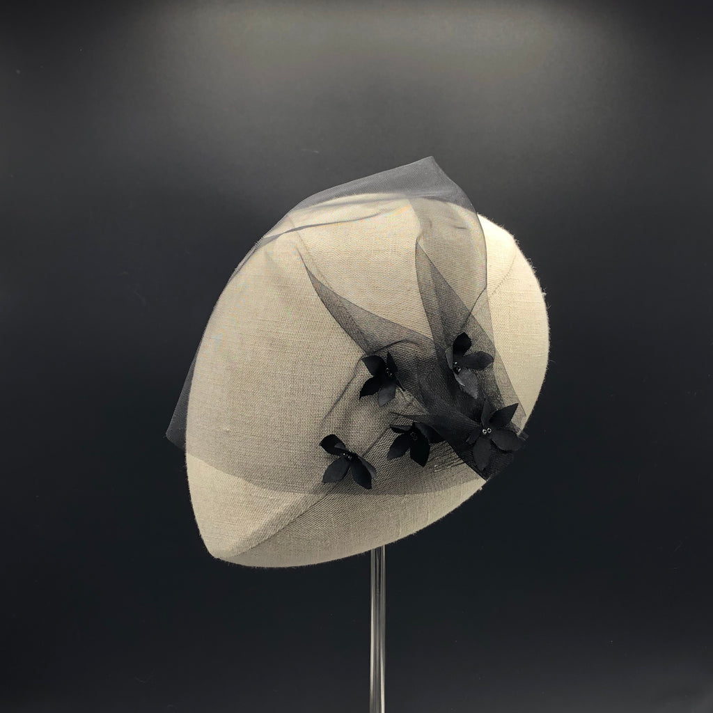 Black Holiday Blusher Veil with Petals by Genevieve Rose Atelier