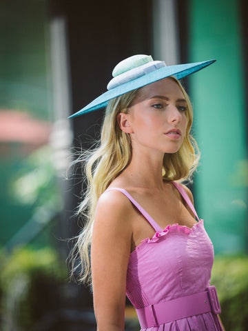 Whirlaway Teal Derby Pyramid Hat by Genevieve Rose Atelier