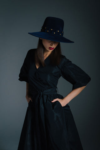 Large Navy Hat with Gold Buttons by Genevieve Rose Atelier