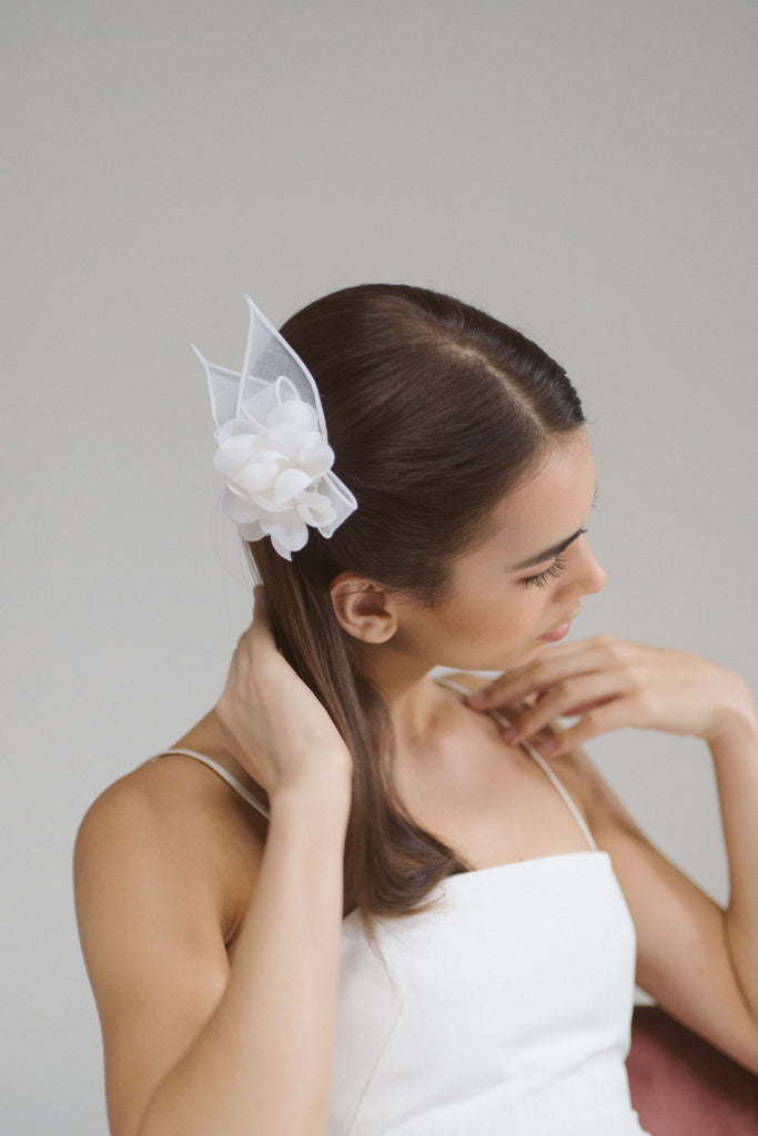 Marina Organza Flower and Petal Bridal Comb by Genevieve Rose Atelier