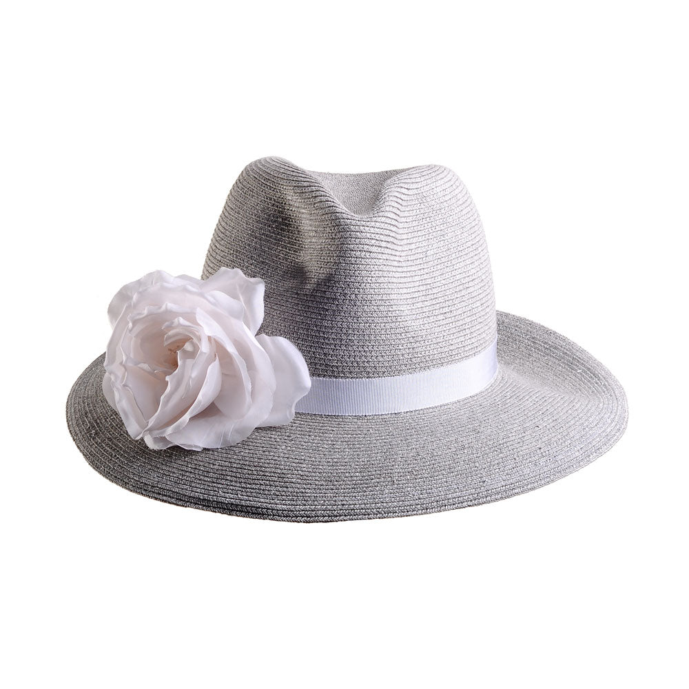 Pale Grey Straw Fedora with Silk Flower by Genevieve Rose Atelier