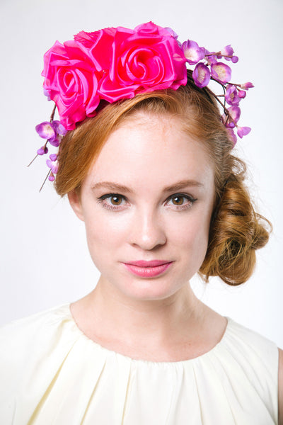 Genevieve Rose Atelier Hot Pink Derby Flower Crown Headband