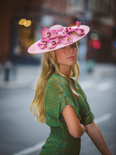 Istabraq Pink Pyramid Derby Hat with Orchids by Genevieve Rose Atelier