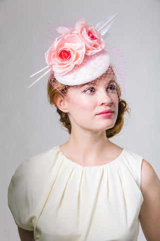 White Derby Fascinator with Pink Birdcage Veil and Roses by Genevieve Rose Atelier