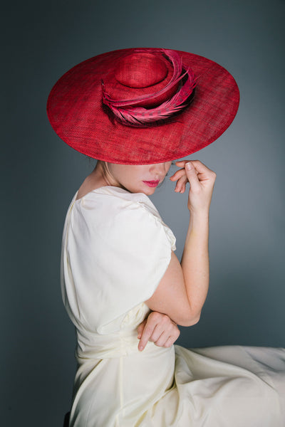 Genevieve Rose Atelier Red Ascot Hat with Curled Feather Halo