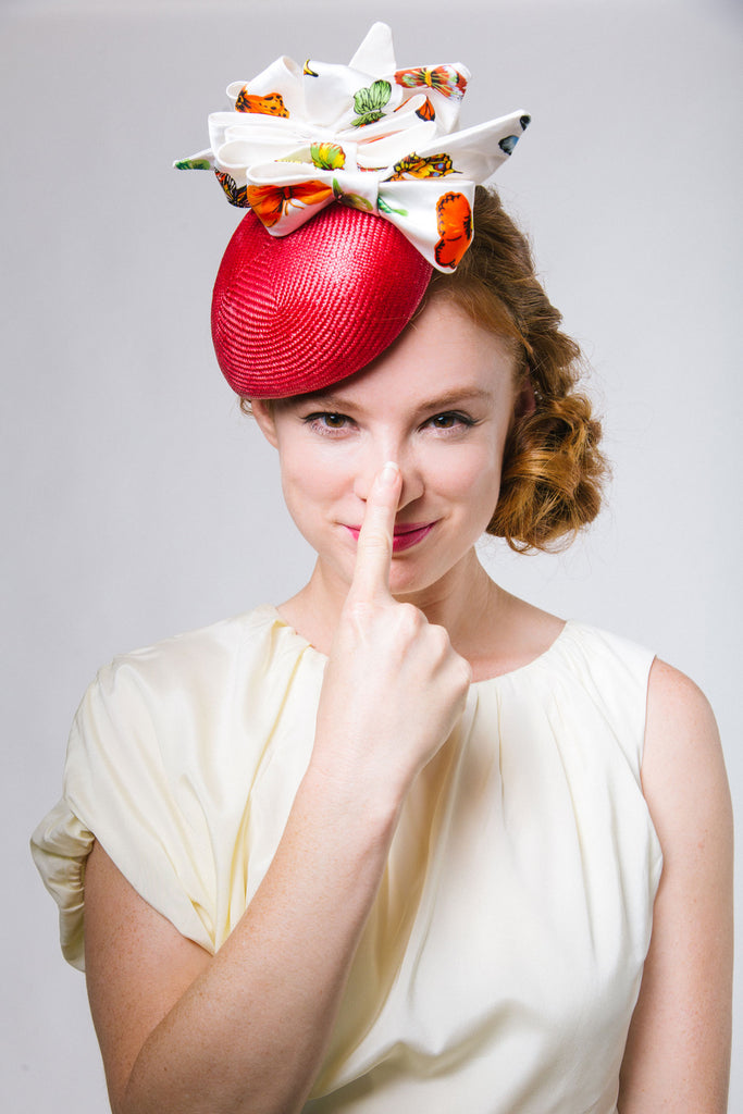 Red Mini Beret Derby Fascinator with Butterfly Print Bows by Genevieve Rose Atelier