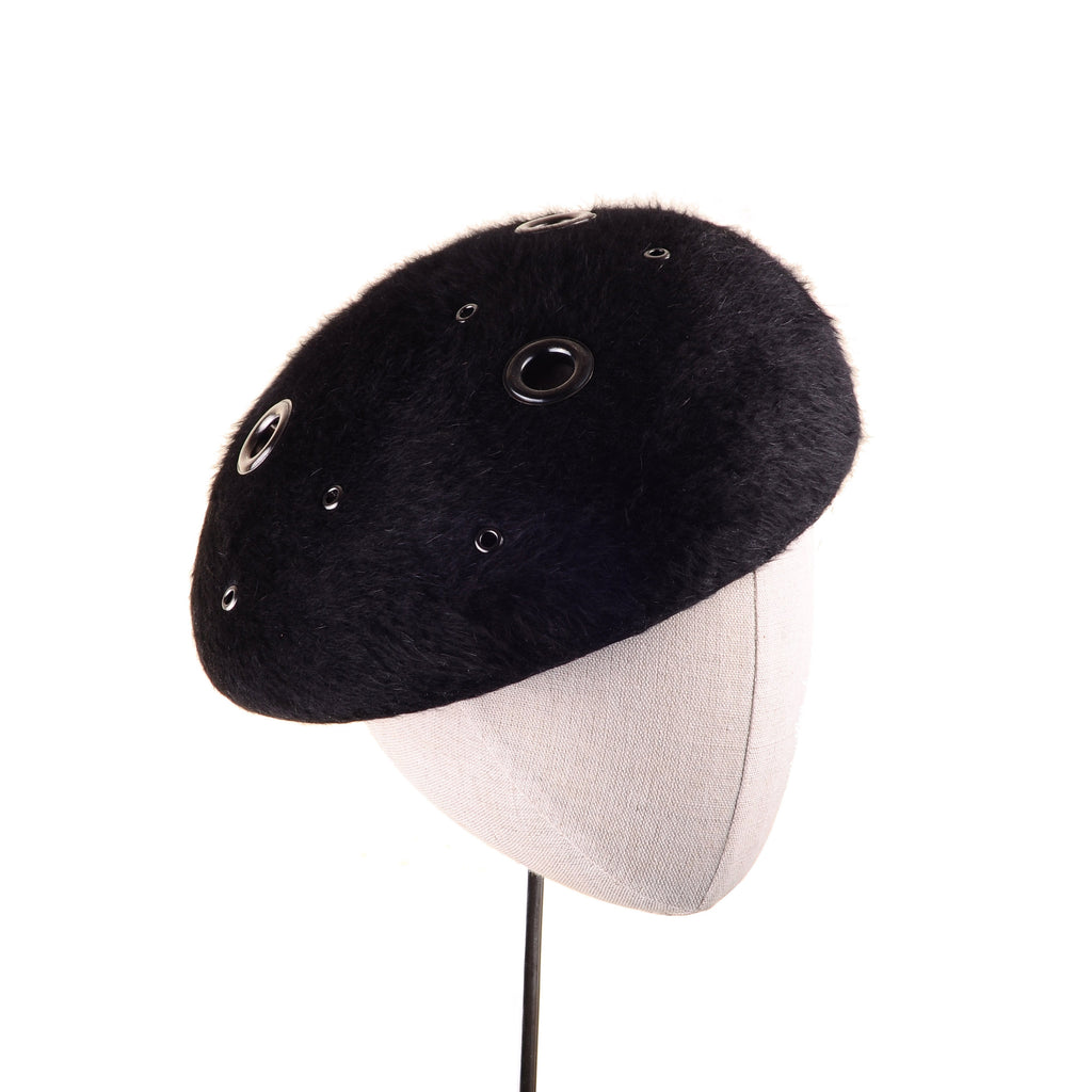 Retro Beaver Custom Beret with Eyelets by Genevieve Rose Atelier