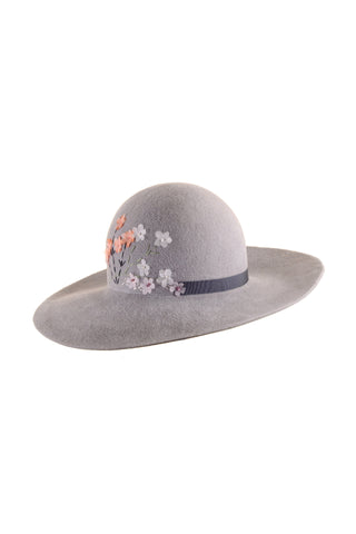 Grey Floppy Hat with Blossom by Genevieve Rose Atelier
