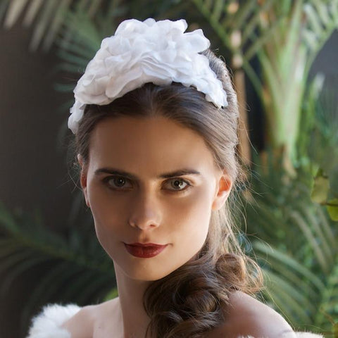 Silk Flower Bridal Headpiece Princess Mary Christening by Genevieve Rose Atelier