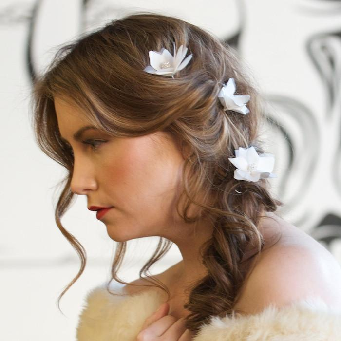 Silk Flower Pins for a Bridal Fishtail by Genevieve Rose Atelier