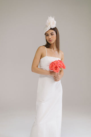 Silk Bridal Headpiece with Roses by Genevieve Rose Atelier
