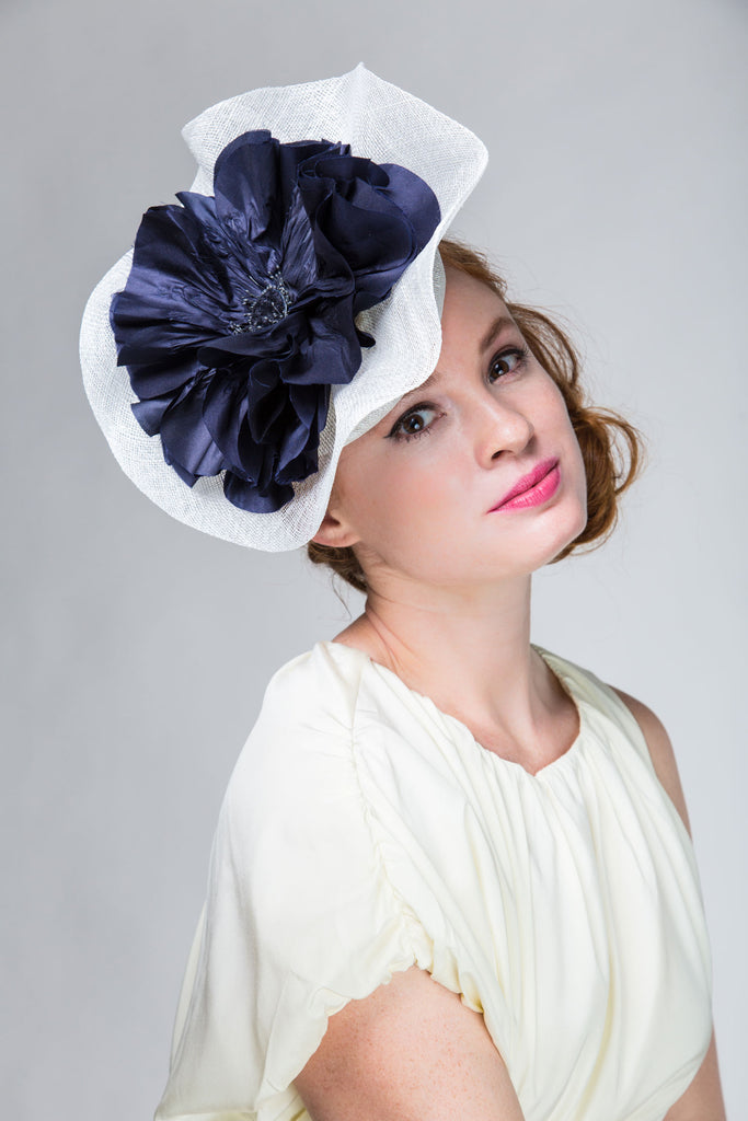 Sculptural White Derby Fascinator with Large Navy Poppy by Genevieve Rose Atelier