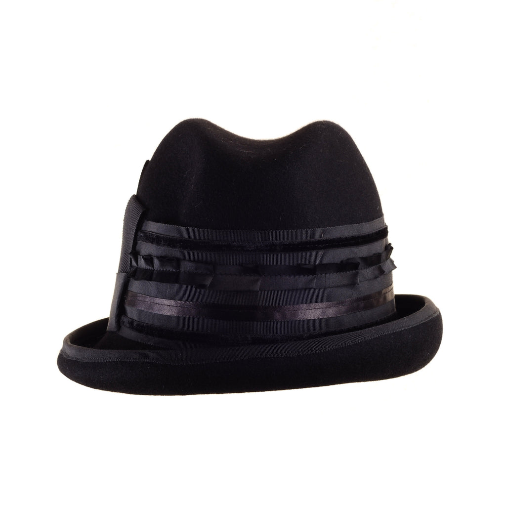 Small Felt Fedora Top Hat with Multi Ribbon Trim by Genevieve Rose Atelier