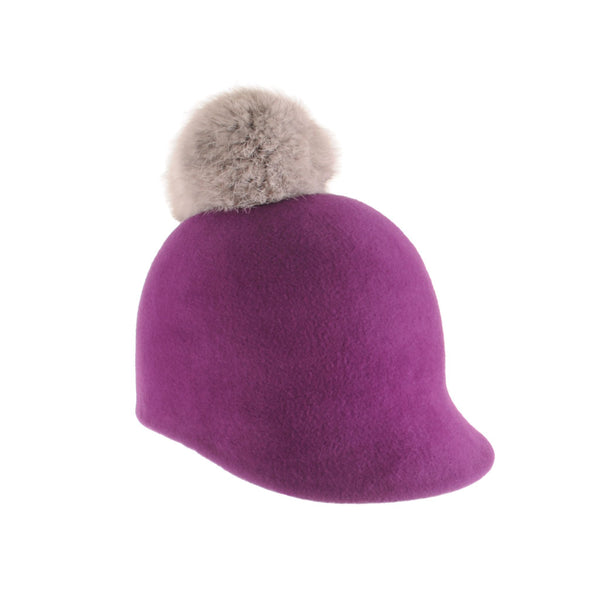 Small Custom Felt Riding Cap with Fur Pom Pom by Genevieve Rose Atelier
