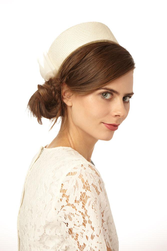 49034fd14f22a Straw Bridal Pillbox Hat with Organza Bow - Genevieve Rose Atelier