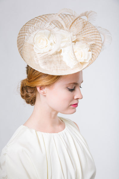 Gold Mesh Ascot Saucer Fascinator by Genevieve Rose Atelier