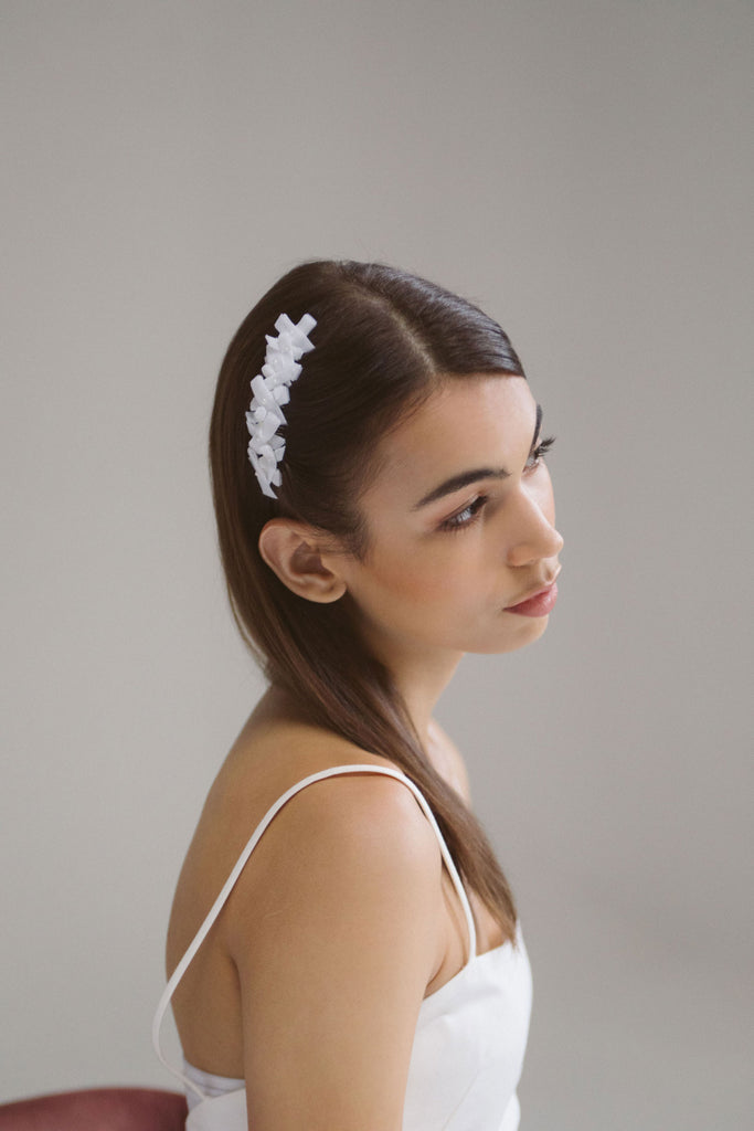 Pia Tiny Velvet Bow Bridal Comb by Genevieve Rose Atelier