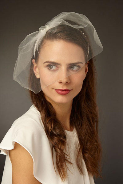 Tulle Bridal Blusher Veil with Pearl Headband for a Short Wedding Dress by Genevieve Rose Atelier