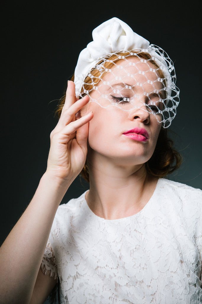 White Velvet Turban Headband with Veil by Genevieve Rose Atelier
