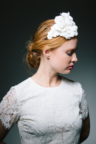 Velvet Petal Bridal Headpiece by Genevieve Rose Atelier