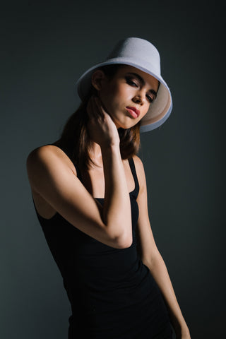 White Straw Bucket Hat by Genevieve Rose Atelier