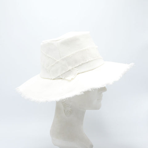 Preston White Denim Frayed Fedora Hat by Genevieve Rose Atelier