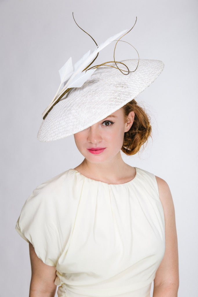 White Derby Disc Hat with Gold Quills by Genevieve Rose Atelier