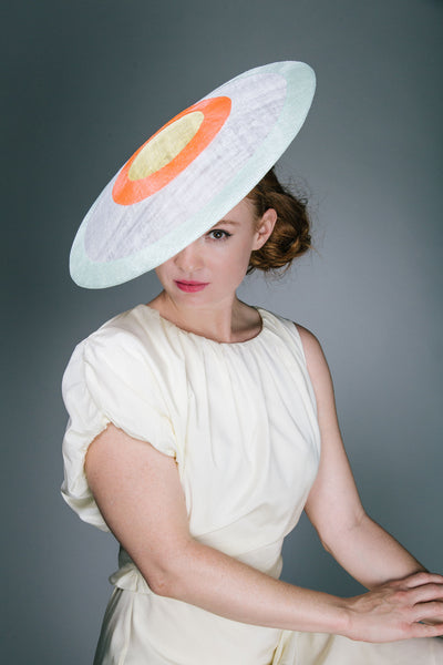 White and Neon Ascot Coolie Hat by Genevieve Rose Atelier
