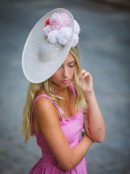 Curlindio White Derby Saucer Hat by Genevieve Rose Atelier