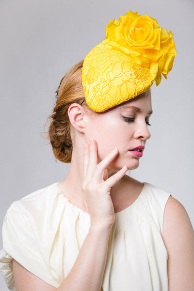 Yellow Lace Ascot Headpiece by Genevieve Rose Atelier