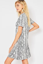 Load image into Gallery viewer, GRAY SNAKESKIN SWING DRESS