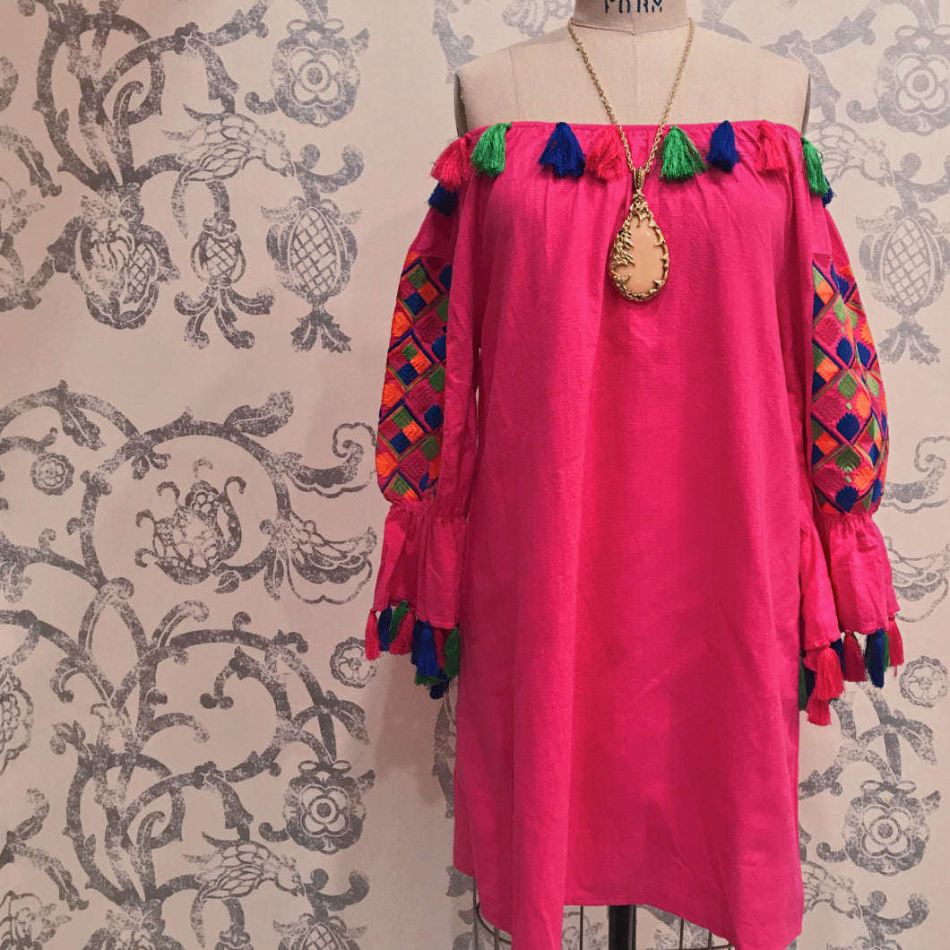 FRESANADA HOT PINK EMBROIDERED DRESS