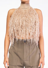 Load image into Gallery viewer, SHAGGY FRINGE HALTER TOP
