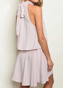 HIGH NECK LILAC RUFFLED DRESS