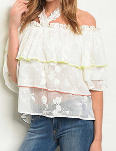 TIERED EMBROIDERY RUFFLED TOP