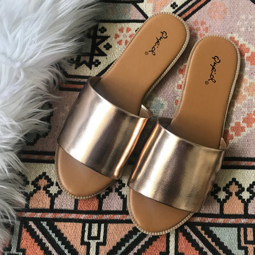 ROSE GOLD METALLIC QUPID SLIDES