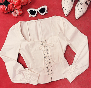 BARDOT WHITE LACE UP BLOUSE