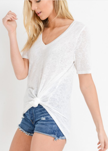 CASUAL CONTRAST OFF WHITE T-SHIRT