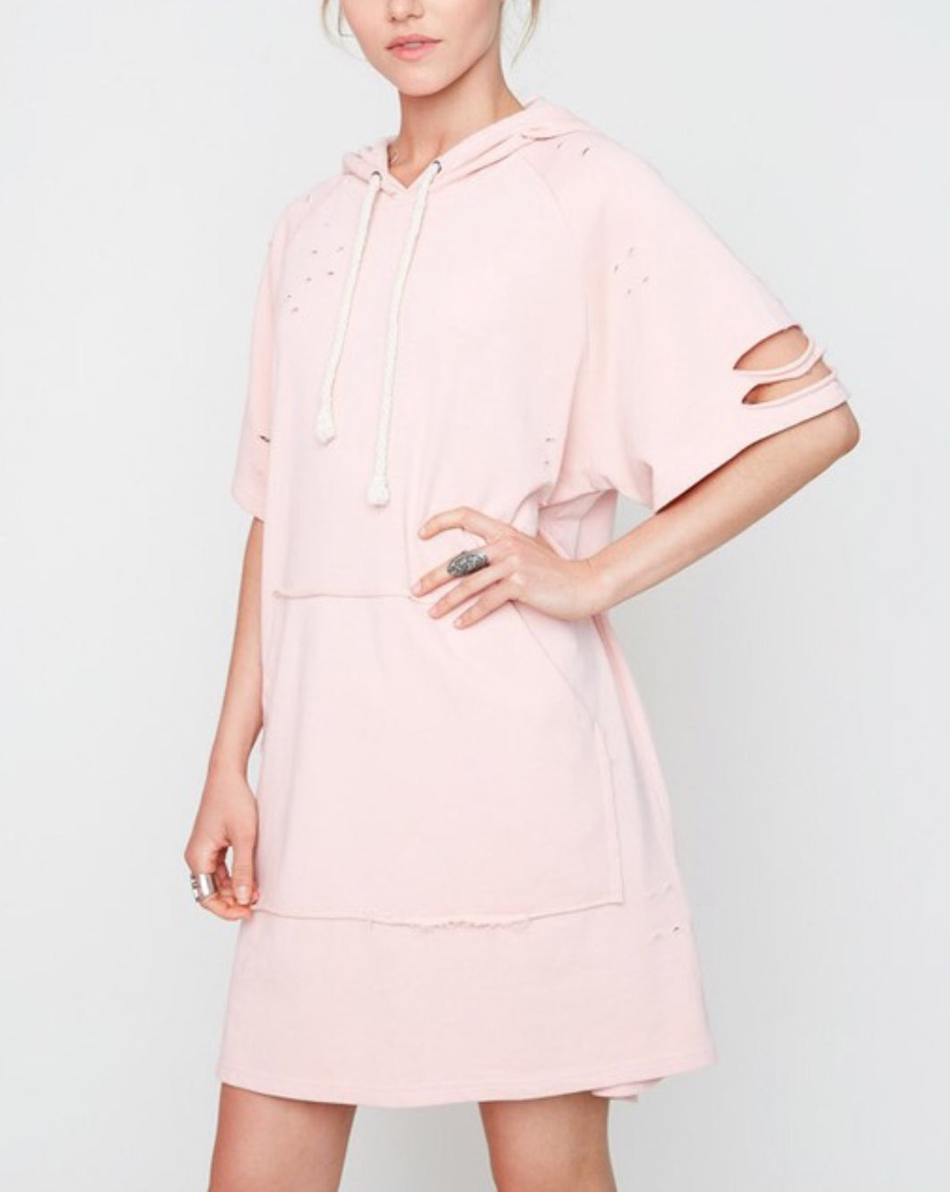 DISTRESSED PINK FRENCH TERRY DRESS