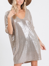 Load image into Gallery viewer, V-NECK SEQUIN TUNIC DRESS