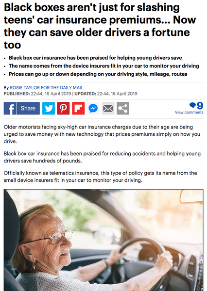 Daily Mail Article on saving money for older drivers