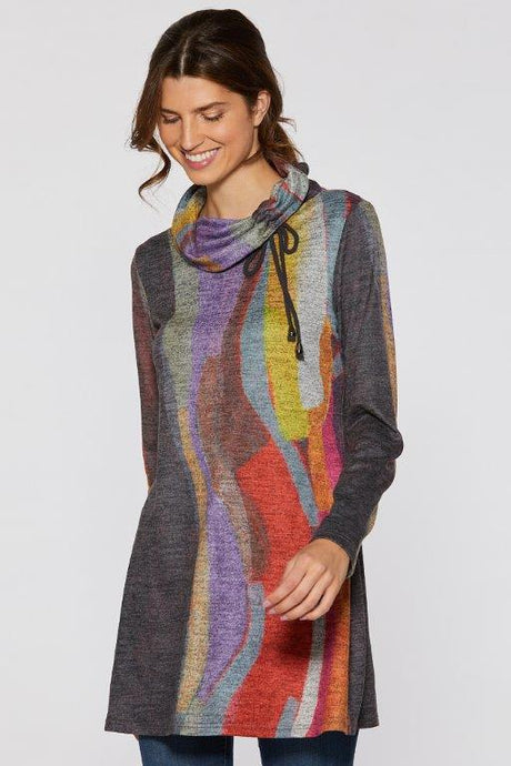 Mood Swing Soft Touch Cowl Neck Tunic