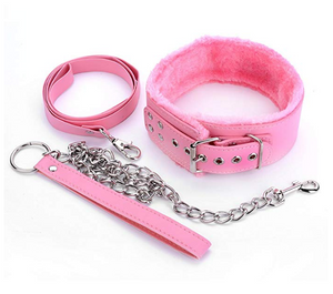 PU Leather Fur Collars Choker Chain Detachable Leash Men Women