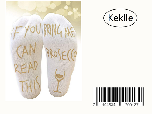 'If You Can Read This Bring Me Prosecco' Funny Ankle Socks - Perfect Wine Lover Gift!