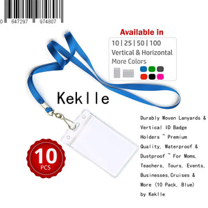 Durably Woven Lanyards & Vertical ID Badge Holders ~ Premium Quality, Waterproof & Dustproof ~ For Moms, Teachers, Tours, Events, Businesses, Cruises & More (10 Pack, Blue) by Keklle