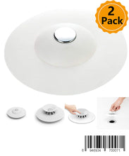 Load image into Gallery viewer, 2Pcs Shower Drain Stopper Plug Bathtub Cover Portable Silicone Hot Bath Tub Sink Strainers Protectors Good Grips Hair Catchers for Floor, Laundry, Kitchen and Bathroom, 2 in 1 Stop & Filters (White)